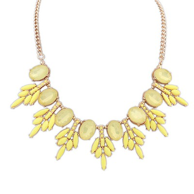 Bridal Yellow Tree Leaf Gemstone Decorated Design Alloy Bib Necklaces