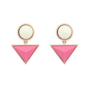 Plus Size Plum Red Triangle Gemstone Pendant Design Alloy Stud Earrings
