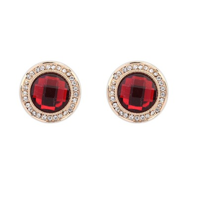 Barbie Red Round Shape Gemstone With Diamond Design Alloy Stud Earrings