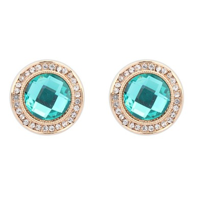 Magic Green Round Shape Gemstone With Diamond Design Alloy Stud Earrings
