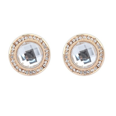 High White Round Shape Gemstone With Diamond Design Alloy Stud Earrings