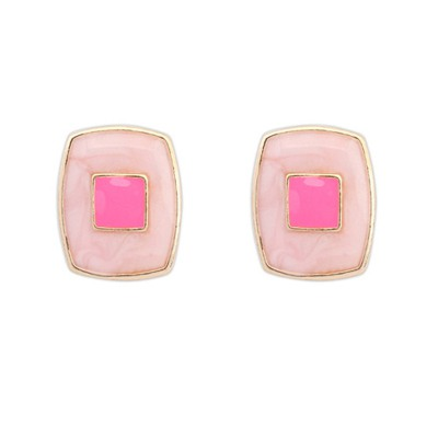 University Pink Square Shape Elegant Design Alloy Stud Earrings