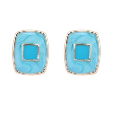 Scrabble Blue Square Shape Elegant Design Alloy Stud Earrings