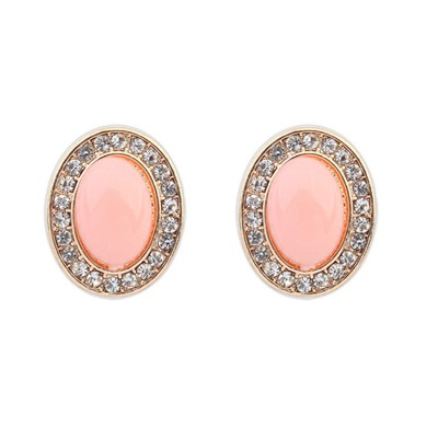 Friendship Pink Oval Shape Gemstone With Diamond Design Alloy Stud Earrings