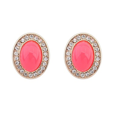Athena Plum Red Oval Shape Gemstone With Diamond Design Alloy Stud Earrings