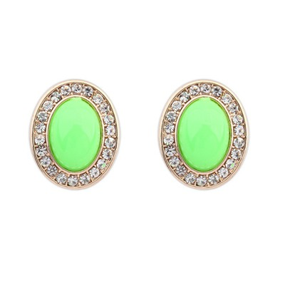 Fashion Green Oval Shape Gemstone With Diamond Design Alloy Stud Earrings