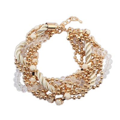 Tummy Beige Multilayer Beads Weaving Rope Design Alloy Korean Fashion Bracelet