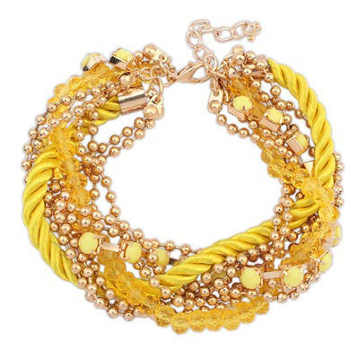 Sling Yellow Multilayer Beads Weaving Rope Design Alloy Korean Fashion Bracelet
