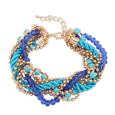 Layered Blue Multilayer Beads Weaving Rope Design Alloy Korean Fashion Bracelet