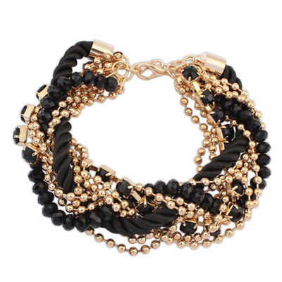 Plated Black Multilayer Beads Weaving Rope Design Alloy Korean Fashion Bracelet