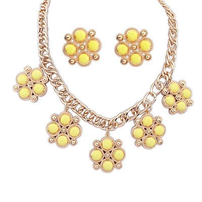 Plussize Yellow Candy Color Gemstone Decorated Design Alloy Jewelry Sets