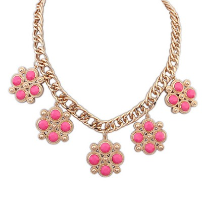 Deathly Plum Red Candy Color Gemstone Decorated Design Alloy Bib Necklaces