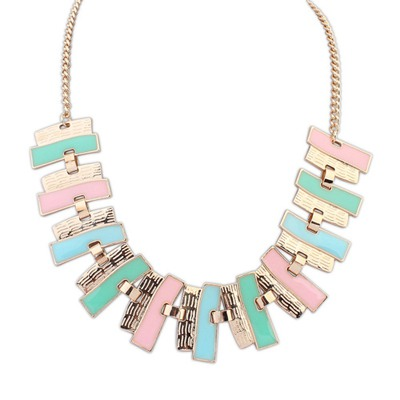 Memorial Multicolor Rectangle Shape Gemstone Patchwork Design Alloy Bib Necklaces