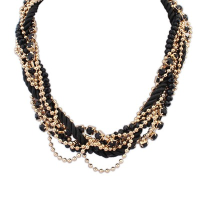 Named Black Multilayer Beads Weaving Rope Design Alloy Chains
