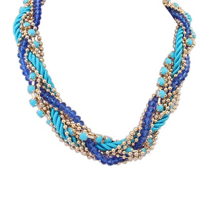 Quilted Blue Multilayer Beads Weaving Rope Design Alloy Chains