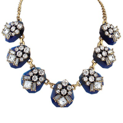 Players Sapphire Personality Geometric Gemstone Decorate Design Alloy Bib Necklaces
