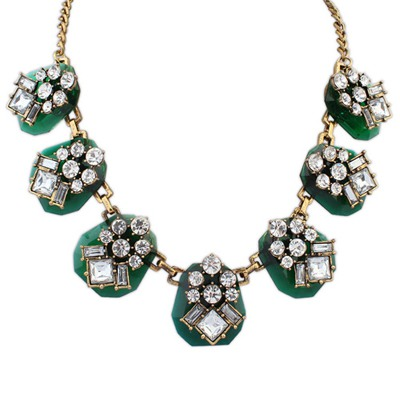 Highwaist Green Personality Geometric Gemstone Decorate Design Alloy Bib Necklaces