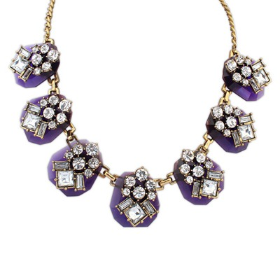 Cute Purple Personality Geometric Gemstone Decorate Design Alloy Bib Necklaces