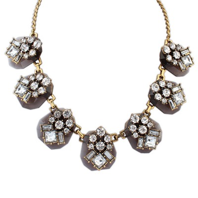Kennedy Coffee Personality Geometric Gemstone Decorate Design Alloy Bib Necklaces