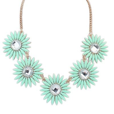 Homecoming Light Green Sweet Flower Gemstone Decorated Design Alloy Bib Necklaces