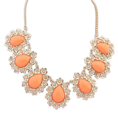 Woolrich Orange Water Drop Shape Gemstone Pendant Design Alloy Bib Necklaces