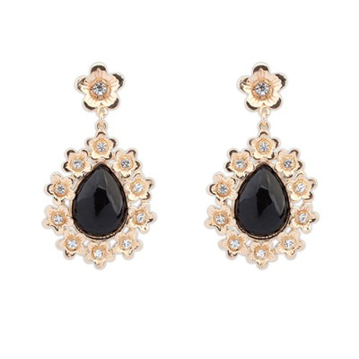 Faux Black Water Drop Shape Gemstone Pendant Design Alloy Korean Earrings