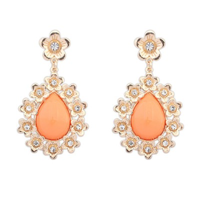 Drawstring Orange Water Drop Shape Gemstone Pendant Design Alloy Korean Earrings