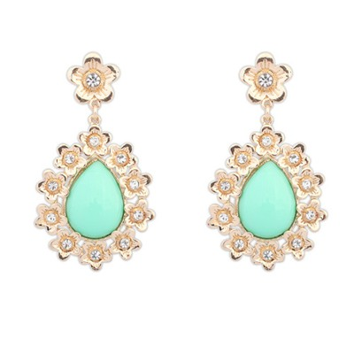 Graduation Light Green Water Drop Shape Gemstone Pendant Design Alloy Korean Earrings