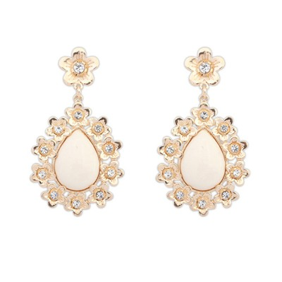 Wide Beige Water Drop Shape Gemstone Pendant Design Alloy Korean Earrings