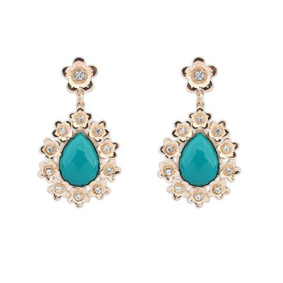 Kinetic Green Water Drop Shape Gemstone Pendant Design Alloy Korean Earrings