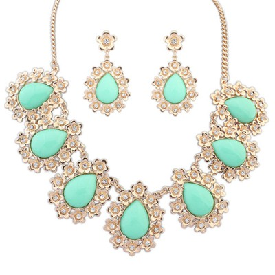 Ultra Light Green Water Drop Shape Gemstone Pendant Design Alloy Jewelry Sets