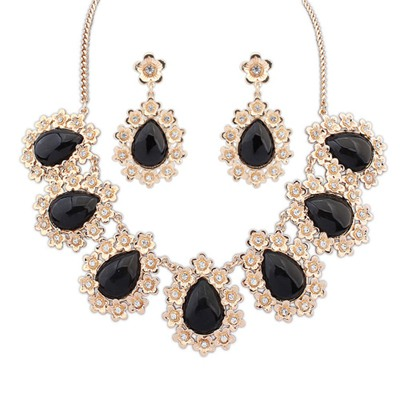 Bodybuildi Black Water Drop Shape Gemstone Pendant Design Alloy Jewelry Sets