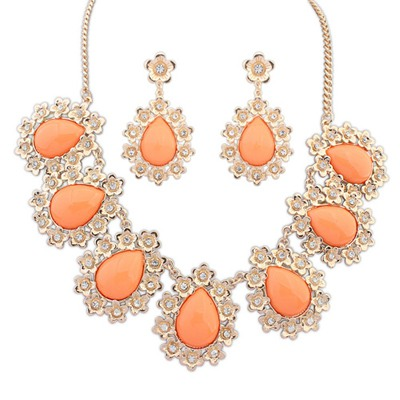 Handmade Orange Water Drop Shape Gemstone Pendant Design Alloy Jewelry Sets