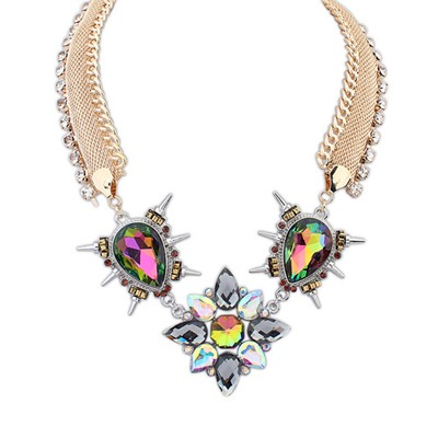 Slim Multicolor Sparkly Gemstone Pendant Design Alloy Bib Necklaces