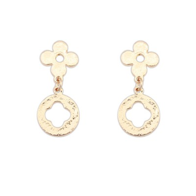 Hip Hop Beige Four-Leaf Clover Shape Simple Design Alloy Stud Earrings