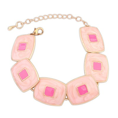 Fashion Pink Square Shape Gemstone Decorated Design Alloy Korean Fashion Bracelet