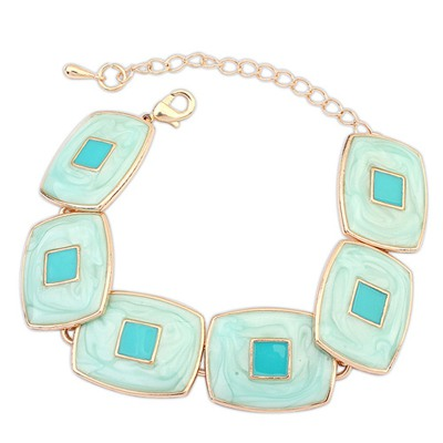 Acrylic Light Green Square Shape Gemstone Decorated Design Alloy Korean Fashion Bracelet
