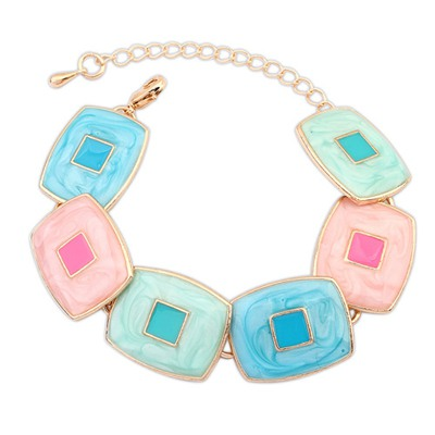 Turkish Multicolor Square Shape Gemstone Decorated Design Alloy Korean Fashion Bracelet
