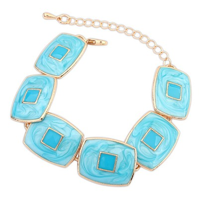 Best Light Blue Square Shape Gemstone Decorated Design Alloy Korean Fashion Bracelet