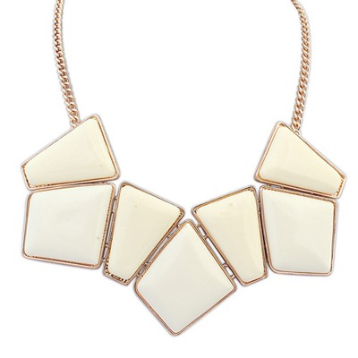 Fake Beige Geometric Square Shape Gemstone Decorated Design Alloy Bib Necklaces