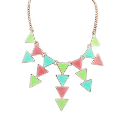 Define Multicolor Multilayer Triangle Pendant Design Alloy Bib Necklaces