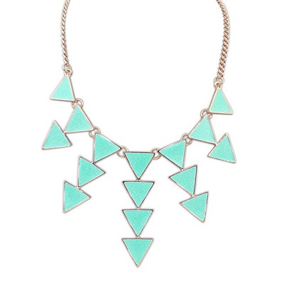 Upper Light Blue Multilayer Triangle Pendant Design Alloy Bib Necklaces