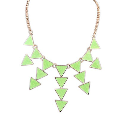 Wonderful Grass Green Multilayer Triangle Pendant Design Alloy Bib Necklaces
