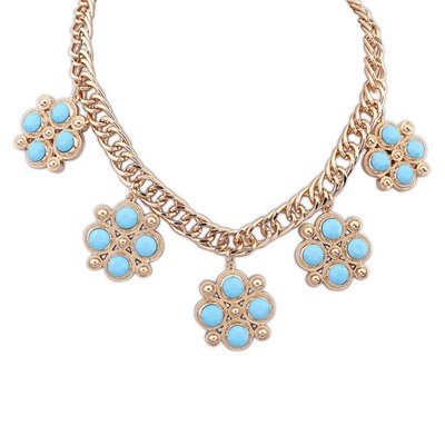 Inspiratio Blue Candy Color Gemstone Decorated Design Alloy Bib Necklaces