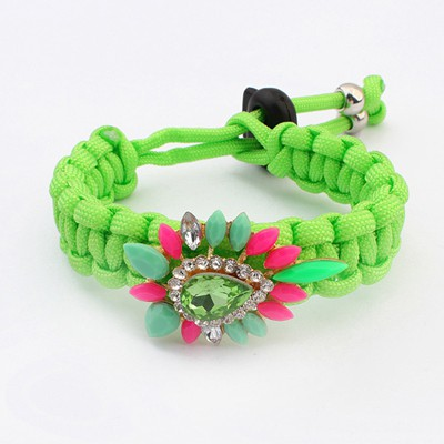 Lined Green Gemstone Decorated Weaving Rope Design Alloy Korean Fashion Bracelet