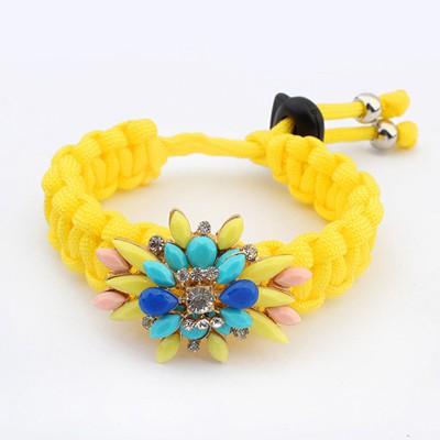 Pewter Yellow Gemstone Decorated Candy Color Weaving Rope Design Alloy Korean Fashion Bracelet
