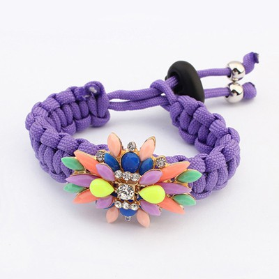 Lightning Purple Gemstone Decorated Candy Color Weaving Rope Design Alloy Korean Fashion Bracelet