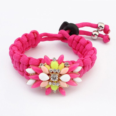 Small Plum Red Gemstone Decorated Candy Color Weaving Rope Design Alloy Korean Fashion Bracelet