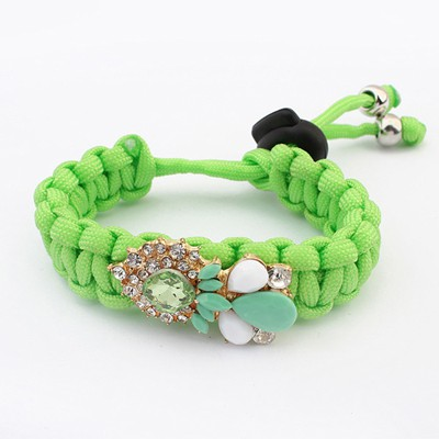 Royal Green Water Drop Shape Gemstone Decorated Alloy Korean Fashion Bracelet