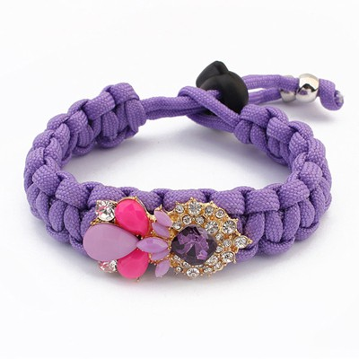 Mustard Purple Water Drop Shape Gemstone Decorated Alloy Korean Fashion Bracelet
